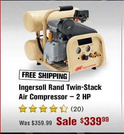 FREE SHIPPING — Ingersoll Rand Twin-Stack Air Compressor — 2 HP
