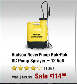 Hudson NeverPump Bak-Pak DC Pump Sprayer - 12 Volt