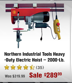 Northern Industrial Tools Heavy-Duty Electric Hoist - 2000-Lb.