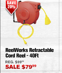 ReelWorks Retractable Cord Reel — 40Ft.