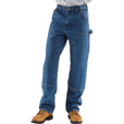 Carhartt Men's Double-Front Logger Dungaree - Dark Stone, 34in. Waist x 32in. Inseam, Model# B73 The price is $39.99.