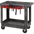 Quantum Industrial-Strength 2-Shelf Plastic Cart — Tool Holder, Model# PC4026-33TR The price is $259.99.