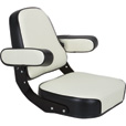 K & M Mfg Super Deluxe Seat Assembly for IH 06-66 Series Tractors — Black and White, Model# 7163 The price is $389.99.