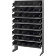 Quantum Storage Single Side Sloped Storage Shelves With 40 Bins — 12in. x 36in. x 60in. Rack Size, Black, Model# QPRS-102 BK The price is $264.99.