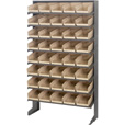 Quantum Storage Single Side Sloped Storage Shelves With 40 Bins — 12in. x 36in. x 60in. Rack Size, Ivory, Model# QPRS-102 IV The price is $299.99.