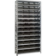 Quantum Storage Single Side Metal Shelving Unit With 48 Bins — 12in. x 36in. x 75in. Rack Size, Black, Model# 1275-107 BK The price is $349.99.