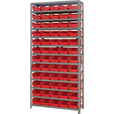 Quantum Storage Single Side Metal Shelving Unit With 60 Bins — 12in. x 36in. x 75in. Rack Size, Red, Model# 1275-102 R The price is $289.99.