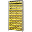 Quantum Storage Single Side Metal Shelving Unit With 60 Bins — 12in. x 36in. x 75in. Rack Size, Yellow, Model# 1275-102 Y The price is $319.99.