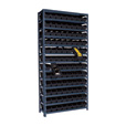 Quantum Storage Single Side Metal Shelving Unit With 96 Bins — 12in. x 36in. x 75in. Rack Size, Black, Model# 1275-101 BK The price is $284.99.