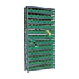 Quantum Storage Single Side Metal Shelving Unit With 96 Bins — 12in. x 36in. x 75in. Rack Size, Ivory, Model# 1275-101 IV The price is $299.99.