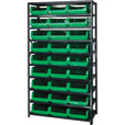 Quantum Storage Heavy Duty Metal Shelving Unit With 27 Magnum Bins — 18in. x 42in. x 75in. Rack Size, Green, Model# MSU 531 GN The price is $599.99.