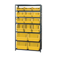Quantum Storage Heavy Duty Metal Shelving Unit With 16 Assorted Magnum Bins — 18in. x 42in. x 75in. Rack Size, Yellow, Model# MSU 16-MIX Y The price is $529.99.