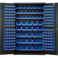 Quantum Storage Cabinet With 171 Bins — 48in. x 24in. x 78in. Size, Blue The price is $1,529.99.