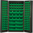 Quantum Storage Cabinet With 132 Bins — 36in. x 24in. x 72in. Size, Green The price is $1,529.99.
