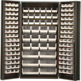 Quantum Storage Cabinet With 132 Bins — 36in. x 24in. x 72in. Size, Ivory The price is $1,479.99.