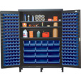 Quantum Storage Cabinet With 185 Bins — 60in. x 24in. x 84in. Size, Blue The price is $2,399.99.