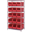 Quantum Storage Single Side Metal Shelving Unit with 15 Hulk Bins — 24in.L x 36in.W x 74in.H, Rack Size, Red, Model# WR6-953R The price is $589.99.