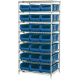 Quantum Storage Single Side Metal Shelving Unit with 21 Hulk Bins — 24in.L x 36in.W x 74in.H Rack Size, Blue, Model# WR8-952B The price is $792.99.