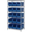 Quantum Storage Single Side Metal Shelving Unit with 15 Hulk Bins — 30in.L x 36in.W x 74in.H, Blue, Model# WR6-973B The price is $802.99.