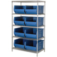 Quantum Storage Single Side Metal Shelving Unit with 8 Hulk Bins — 36in.L x 36in.W x 86in.H, Blue, Model# WR5-993B The price is $834.99.