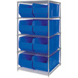 Quantum Storage Single Side Metal Shelving Unit with 8 Hulk Bins — 36in.L x 48in.W x 86in.H, Blue, Model# WR5-997B The price is $987.99.