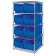 Quantum Storage Single Side Metal Shelving Unit with 8 Hulk Bins — 36in.L x 48in.W x 86in.H, Blue, Model# WR5-995B The price is $979.99.