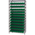 Quantum Storage Single Side Wire Chrome Shelving Unit with 77 Bins — 36in.W x 12in.D x 74in.H, Green, Model# WR12101GN The price is $299.99.