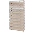 Quantum Storage Single Side Wire Chrome Shelving Unit with 44 Bins — 36in.W x 12in.D x 74in.H, Ivory, Model# WR12107IV The price is $319.99.