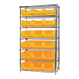Quantum Storage Single Side Wire Chrome Shelving Unit with 18 Magnum Bins — 18in.L x 42in.W x 74in.H, Yellow, Model# WR7532YL The price is $549.99.