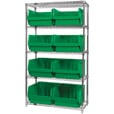 Quantum Storage Single Side Wire Chrome Shelving Unit with 8 Magnum Bins — 18in.L x 42in.W x 74in.H, Green, Model# WR5543GN The price is $434.99.