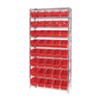 Quantum Storage Single Side Wire Chrome Shelving Unit with 40 Bins — 36in.W x 12in.D x 74in.H, Red, Model# WR9202RD The price is $369.99.