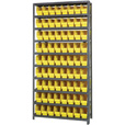 Quantum Storage Metal Shelving Unit with 72 Bins — 36in.W x 12in.D x 75in.H, Yellow, Model# 1275-201YL The price is $299.99.