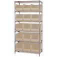 Quantum Storage Single Side Wire Chrome Shelving Unit with 15 Ultra Bins — 18in.L x 36in.W x 74in.H, Ivory, Model# WR6260IV The price is $444.99.