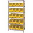Quantum Storage Single Side Wire Chrome Shelving Unit with 20 Ultra Bins — 18in.L x 36in.W x 74in.H, Yellow, Model# WR6265YL The price is $482.99.