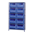 Quantum Storage Metal Shelving Unit with 10 Giant Hopper Bins — 42in.W x 18in.D x 75in.H, Blue, Model# QSBU-700BL The price is $289.99.