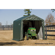 ShelterLogic Peak Style Shed/Storage Shelter — Green, 16ft.L x 10ft.W x 8ft.H, Model# 72824 The price is $454.99.