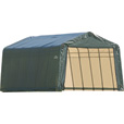 ShelterLogic Peak Style Garage/Storage Shelter — Green, 28ft.L x 12ft.W x 8ft.H, Model# 76442 The price is $799.99.