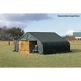 ShelterLogic Peak Style Double Wide Garage/Storage Shelter — Green, 28ft.L x 22ft.W x 11ft.H, 2 3/8in. Frame, Model# 78741 The price is $1,999.99.