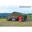 ShelterLogic Peak Style 30ft.W Garage/Storage Shelter — Green, 28ft.L x 30ft.W x 20ft.H, 2 3/8in. Frame, Model# 86071 The price is $4,399.99.