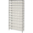 Quantum Storage Complete Single Side Wire Shelving Unit with 55 Bins — 36in.W x 18in.D x 74in.H, Clear, Model# WR12-104CL The price is $549.99.