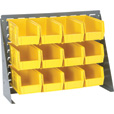 Quantum Storage Louvered Panel Bench Rack with 12 Bins — 27in.L x 8in.W x 21in.H, Yellow, QBR272123012Y The price is $74.99.