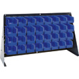 Quantum Storage Louvered Panel Bench Rack with 32 Bins — 36in.L x 8in.W x 19in.H, Blue, Model # QBR-3619-220-32BL The price is $129.99.