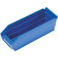 Quantum Storage Economy Shelf Bins — 11 5/8in. x 4 1/8in. x 4in. Size, Blue, Carton of 36 The price is $64.99.