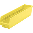 Quantum Storage Economy Shelf Bins — 17 7/8in. X 4 1/8in. X 4in. Size, Yellow, Carton of 20, Model# QSB 103 Y The price is $54.99.