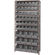Quantum Storage Single Side Metal Shelving Unit with 48 Assorted Bins — 12in. x 36in. x 75in. Rack Size, Black, Model# QSBU-230240 BK The price is $349.99.