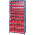 Quantum Storage Single Side Metal Shelving Unit with 48 Assorted Bins — 12in. x 36in. x 75in. Rack Size, Red, Model# QSBU-230240 R The price is $369.99.