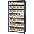 Quantum Storage Single Side Metal Shelving Unit with 28 Bins — 12in. x 36in. x 75in. Rack Size, Ivory, Model# QSBU-240 I The price is $329.99.