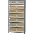Quantum Storage Single Side Metal Shelving Unit with 14 Bins — 12in. x 36in. x 75in. Rack Size, Ivory, Model# QSBU-250 I The price is $299.99.