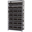 Quantum Storage Single Side Metal Shelving Unit with 21 Bins — 18in. x 36in. x 39in. Rack Size, Black, Model# QSBU-255 BK The price is $389.99.