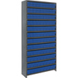 Quantum Storage Closed Metal Shelving Unit With 108 Super Tuff Drawers — 12in. x 36in. x 75in. Rack Size, Blue, Model# CL1275-501 B The price is $669.99.